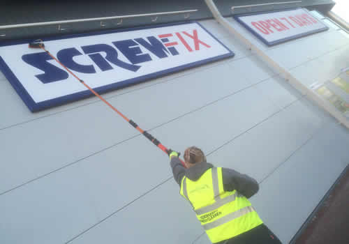 Signage window cleaning